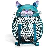 Tooarts 猫小銭ボックス 貯金箱 動物の置物 クリエイティブ 飾り アイアン アート飾り 手作り 内装