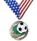 ゴールドサッカーm3X L Die Cast Medal–2.75inches wide–は、カスタム赤、ホワイト&ブルーVネックリボン–Decade Awards ゴールド