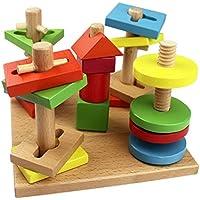 子供木製のおもちゃ5列スーツカラフルビルディングブロック