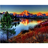 マウンテンdiy絵画数字による風景壁アート画像塗料で番号手塗りの家の装飾アート用フレームなし40×50センチ