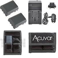 2NB - 2lh電池+ホーム/車充電器+ acuvarバッテリーポーチfor Canon dc310, dc320、dc330、dc410、dc420, hv20, hg10, Digital Rebel XT、Xti and More