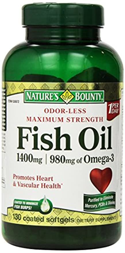 経由で変色する故意にNature's Bounty Fish Oil 1400 mg 130粒