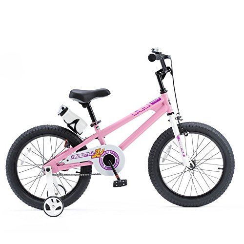 ROYALBABY(ロイヤルベイビー) 18インチ 補助輪付き 子ども用 自転車 ピンク [メーカー保証1年] フルカバーチェーンケース ボトル&ボトルケージ付属 RB-WE FREESTYLE