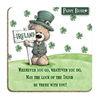 Paddy Bear Irish Designed Coaster 'Wherever you go, whatever you do' Text