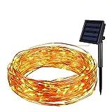 ソーラーイルミネーションライト LEDストリングライト 飾りスター ジュエリーライト 充電式 10m 100球 IP65防水 ガーデンライト 室内室外用 パーティー装飾 雰囲気作り 電飾 8つ点灯モード (ウォームホワイト)