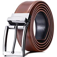 """Marino Reversible Leather Belt For Men - Classic Dress Belt 1.25"""" Wide - With Removable Rotated Buckle"""