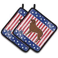 Caroline 's Treasures USA Patriotic Portuguese Sheepdog Dogのペアポットホルダーbb3331pthd、7.5hx7.5 W、マルチカラー