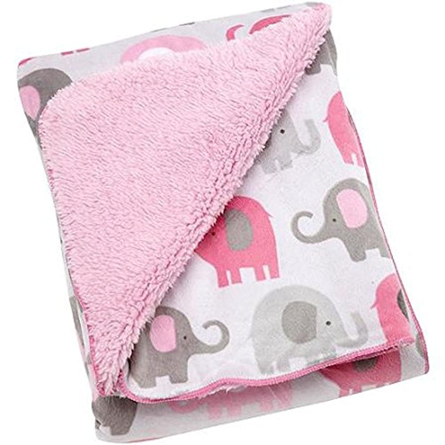 Baby Girl Soft Pink and Gray Elephant Blanket by NoJo