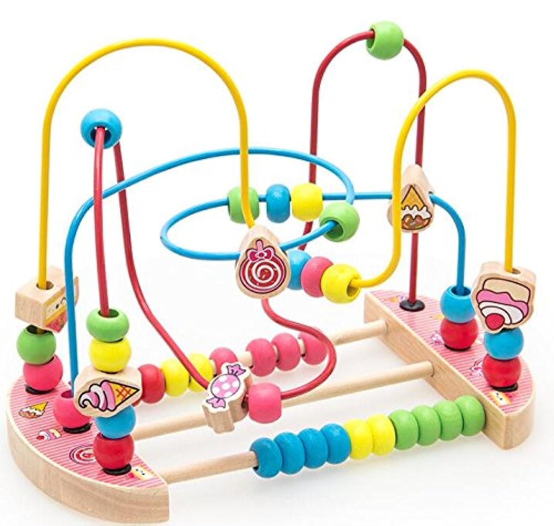 HuaQingPiJu-JP 創造的な木製の棒の円のおもちゃEducationnalビーズの迷路子供のためのクリエイティブギフト(キャンディー)