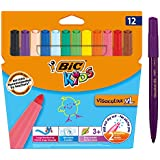 BIC 829007 Kids Visacolor XL Colouring Felt Tip Pens Extra Wide Point - Assorted Colours, Pack of 12
