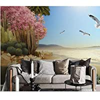 写真壁画3D、モダン壁紙海辺の熱帯植物の花と鳥、壁の家の装飾リビングルームの壁紙3 d 280 cm(W)x 180 cm(H)
