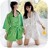 Girl's Avocado Printing Home Wear Comfortable Casual Pajamas Cute Pretty Lady Sleepwear Beautiful 3-Piece Nightclothes
