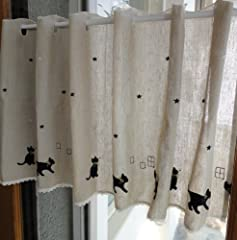 黒猫柄 麻混ナチュラルベージュ カフェカーテン( 幅120cm x 丈45cm)