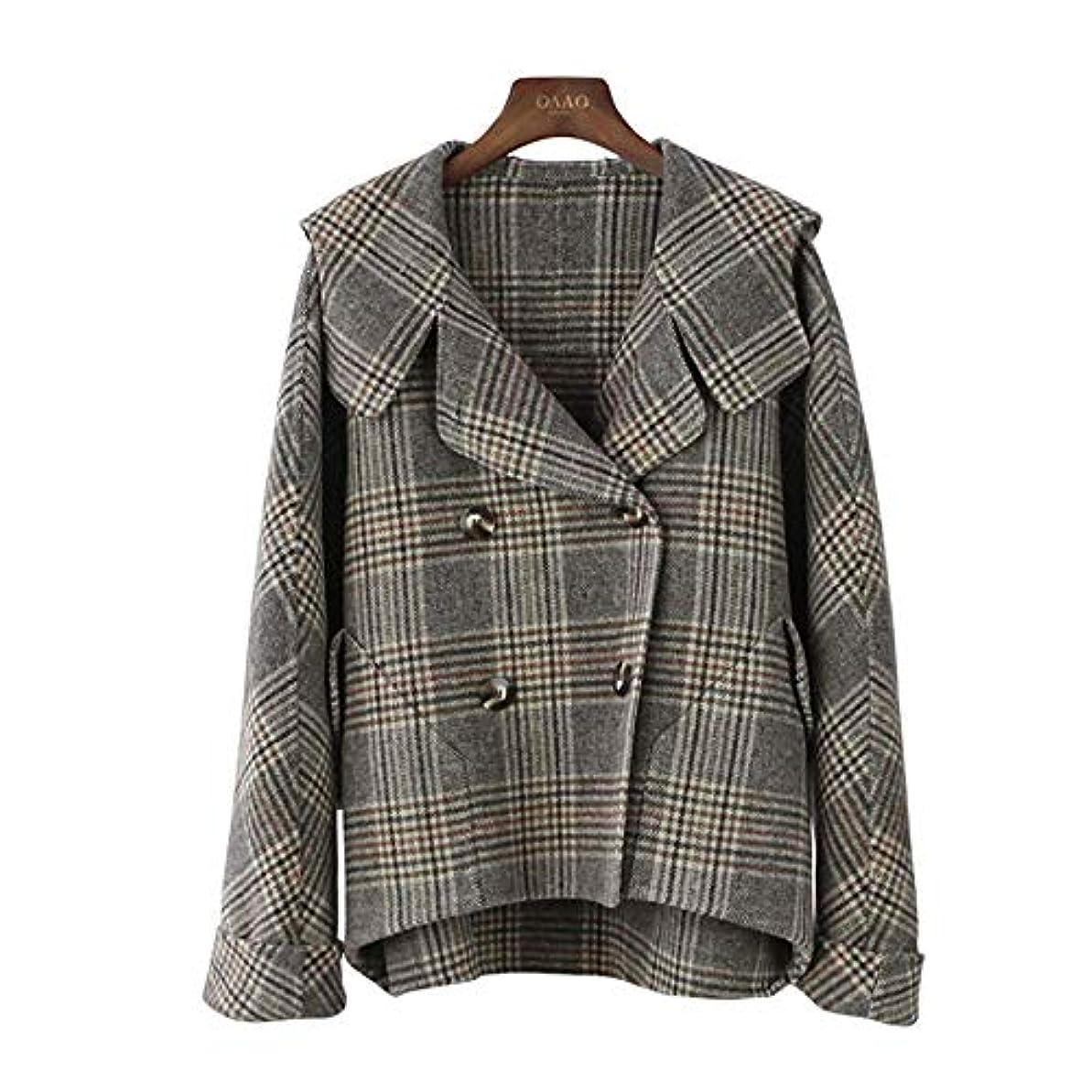 優雅な平等借りるカシミヤのコート、秋と冬の新しいコート両面ウールのコートのフード付きのバットスリーブチェック柄コートウールコート,M