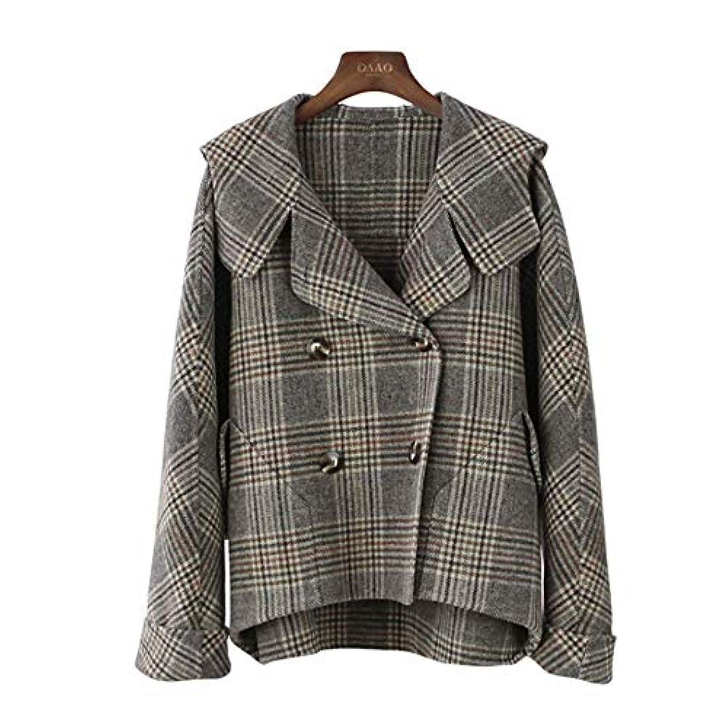 旅行者混沌認識カシミヤのコート、秋と冬の新しいコート両面ウールのコートのフード付きのバットスリーブチェック柄コートウールコート,M
