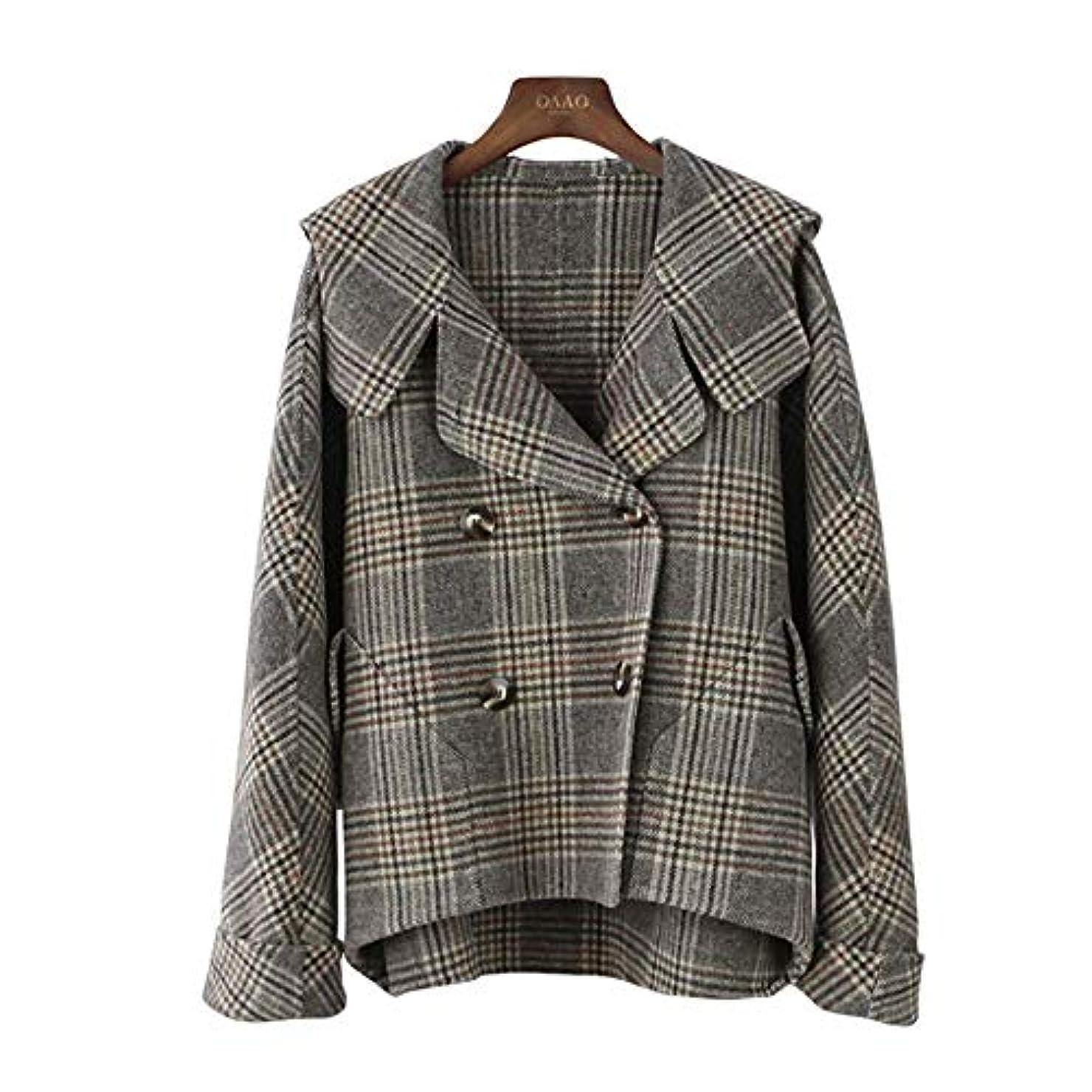絶縁する赤ちゃん受け取るカシミヤのコート、秋と冬の新しいコート両面ウールのコートのフード付きのバットスリーブチェック柄コートウールコート,M