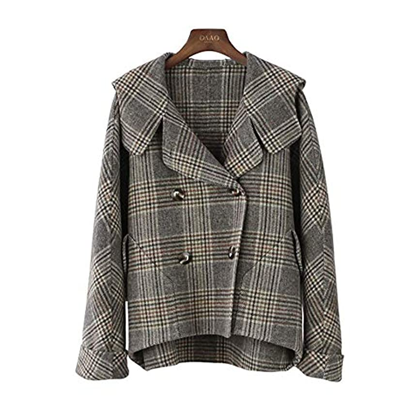 ギャザー合わせて楽なカシミヤのコート、秋と冬の新しいコート両面ウールのコートのフード付きのバットスリーブチェック柄コートウールコート,M