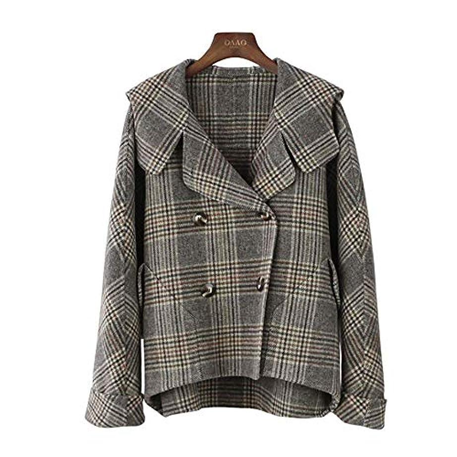 癌端できないカシミヤのコート、秋と冬の新しいコート両面ウールのコートのフード付きのバットスリーブチェック柄コートウールコート,M