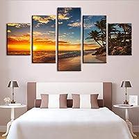 Xueshao ホームデコレーションキャンバス絵画写真5パネル風景ビーチ壁アートワークモジュラーポスターキッズルームフレームワーク-20X35Cmx2 20X45Cmx2 20X55Cmx1