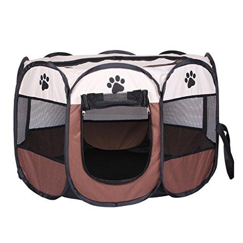 Cuteshower 折りたたみ 八角形 ペットサークル 犬 猫 ペット用品 メッシュサークル ブラウン M