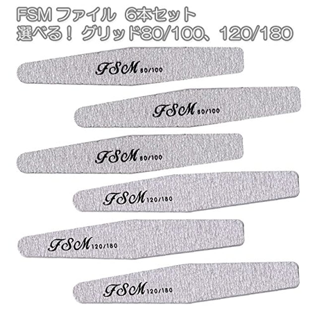自発的彼女の販売計画FSM ネイルファイル/バッファー6本セット(選べる!グリッド80/100、120/180) (G80/100の6本)