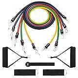 Kivorich Fit トレーニングチューブ フィットネスチューブ 5~14kg負荷 エクササイズ/筋トレ/ダイエット/ストレッチ用 5本セット 強度別負荷可能 (収納袋付)