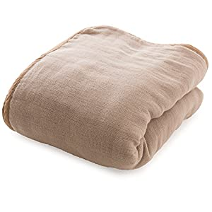 mofua (モフア) ガーゼケット 綿100% 日本製 6重ガーゼ 三河木綿 洗うたびにふっくら シングル(140×200cm) グレージュ 33000156