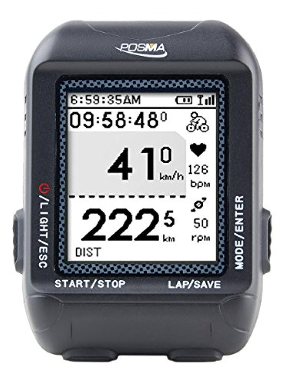 リレー汚染された広くPOSMA D3 GPS ワイヤレスサイクリング車コンピューター ナビゲーション付き速度計、オドメーター、6軸eコンパス付き、ANT+ 接続。GPXファイルのSTRAVA や MapMyRideへのインストールをサポートしています。 (BHR20 心拍計と BCB20 速度/ケーデンス センサーの組み合わせが可能です。)