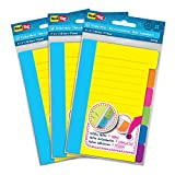 """Redi-Tag Divider Sticky Notes, 60 Ruled Notes per Pack, 4"""" x 6"""", Assorted Neon Colors, 3 Pack (10245)"""