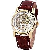 GuTe出品 スケルトン 男女 可愛らしい スタイリッシュ 革バンド 優雅 カジュアル アンティーク風 ビンテージ ホワイトにゴールド 自動巻き腕時計