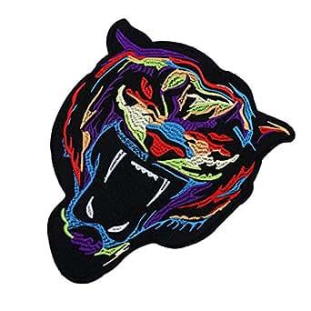 HOUSWEETY 虎 刺繍 アップリケ 布シール アイロンで貼り付け 縫い付け 手作り 手芸 アクセサリーパーツ 22x18.3cm 1枚