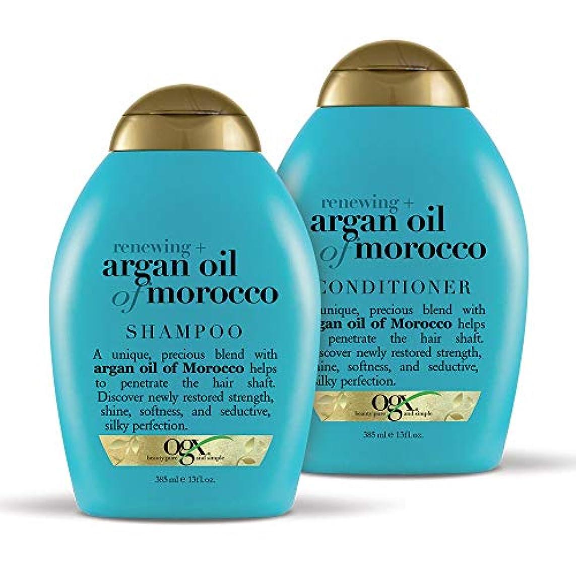あからさま絶望的な豪華なOGX Renewing Argan Oil of Morocco Shampoo & Conditioner 2 セット(13 fl. Oz.) [海外直送品 ]
