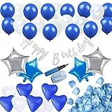 誕生日飾り ブルー  ハートバルーン ブルー ホワイト  子供  大人 誕生日 パーティー飾り  Happy birthdayバナー フラワーシャワー  空気入れ付き