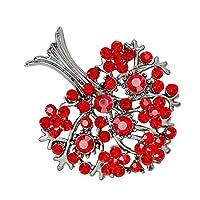 2色 ラインストーン キラキラ 木の形 ブローチ ピン ネクタイピン バッジ オシャレ アクセサリー - レッド
