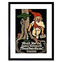 ヴィンテージAd War WWIドイツブナナット収集Gnome Food Framed Print f97X 6067 9 x 7 inc - 23 x 18 cm ブラック F97X6067_Black