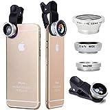 JDSenYe 3 in 1 フィッシュアイ レンズ キット と 魚眼レンズ  + 2 in 1 マクロレンズ + 広角レンズ + クリップ + キャリーポーチ ために  iPhone 6 6s 7s 8x Plus