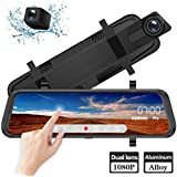 ZOMFOM 9.66 inch Mirror Dash Cam Touch Full Screen ; 1080P 170° Full HD Front Camera;1080P 140°Wide Angle Full HD Rear View Camera;Time-Lapse Photography, 24-Hour Parking Monitoring