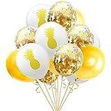 Wholehot 12インチ 風船 誕生日 飾り付け バルーン 紙吹雪バルーン パイナップルラテックスバルーン セット 結婚式 プロポーズ 記念日 ハワイ風パーティー飾りバルーン 幸せな雰囲気 パーティー用品 (15個入り パイナップルゴールドシリーズ)