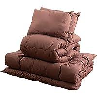 ナイスデイ 洗える 布団 5点 セット [ 収納袋 付] ブラウン ダブル ほこりの出にくい ふとん 寝具 快適