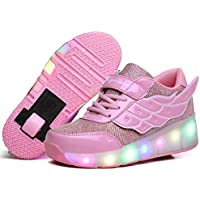 Nsasy Roller Shoes Girls Roller Skate Shoes Boys Kids LED Light up Wheel Shoes Roller Sneakers Shoes Wheels