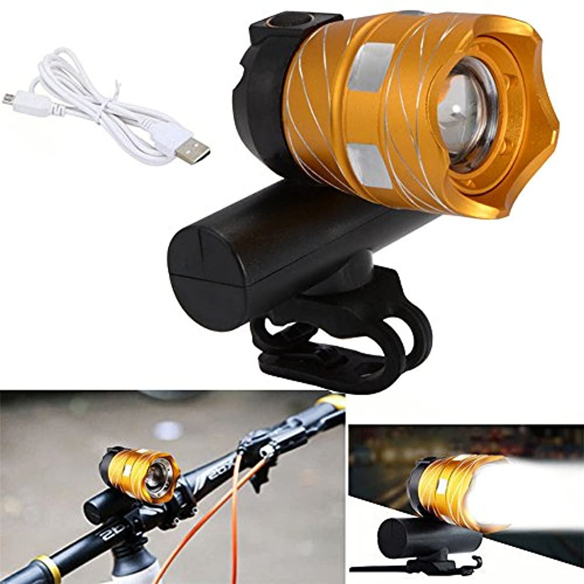 骨髄あいまいマニュアルTRADERPLUS USB充電式LED自転車フロントヘッドライトスーパーブライト自転車ライト、4灯モードオプション、防水IP65(ゴールド)