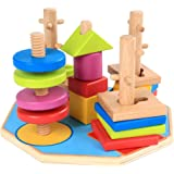 TOYANDONA Geometric Stacker Wooden Sorting Stacking Toys Shape Sorter Toys Early Educational Block Puzzles for Toddlers Kids