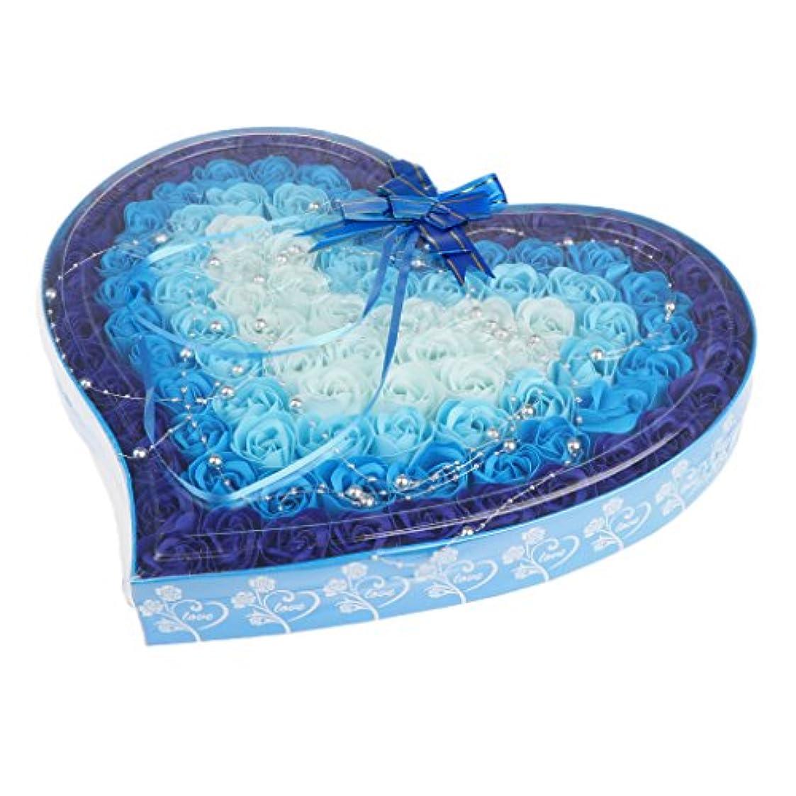 よろしく鉄私ソープフラワー 約100個 心の形 ギフトボックス 石鹸の花 誕生日 プレゼント 全4色選べる - 青