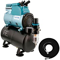 Master Airbrush Model TC-40T - Cool Runner Professional High Performance Single-Piston Airbrush Air Compressor with 3-Liter Air Tank, 2 Holders, Regulator, Gauge, Water Trap Filter & Air Hose by Master Airbrush