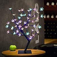 ロマンチックな48個のLED桜デスクトップ盆栽ライトフェスティバルホリデーライトホームパーティー結婚式室内装飾ランプ:カラフル、EUプラグ