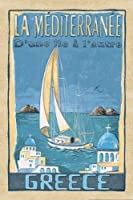 ギリシャ–Lovely Greek地中海旅行ポスター; One 24x 36ポスター印刷