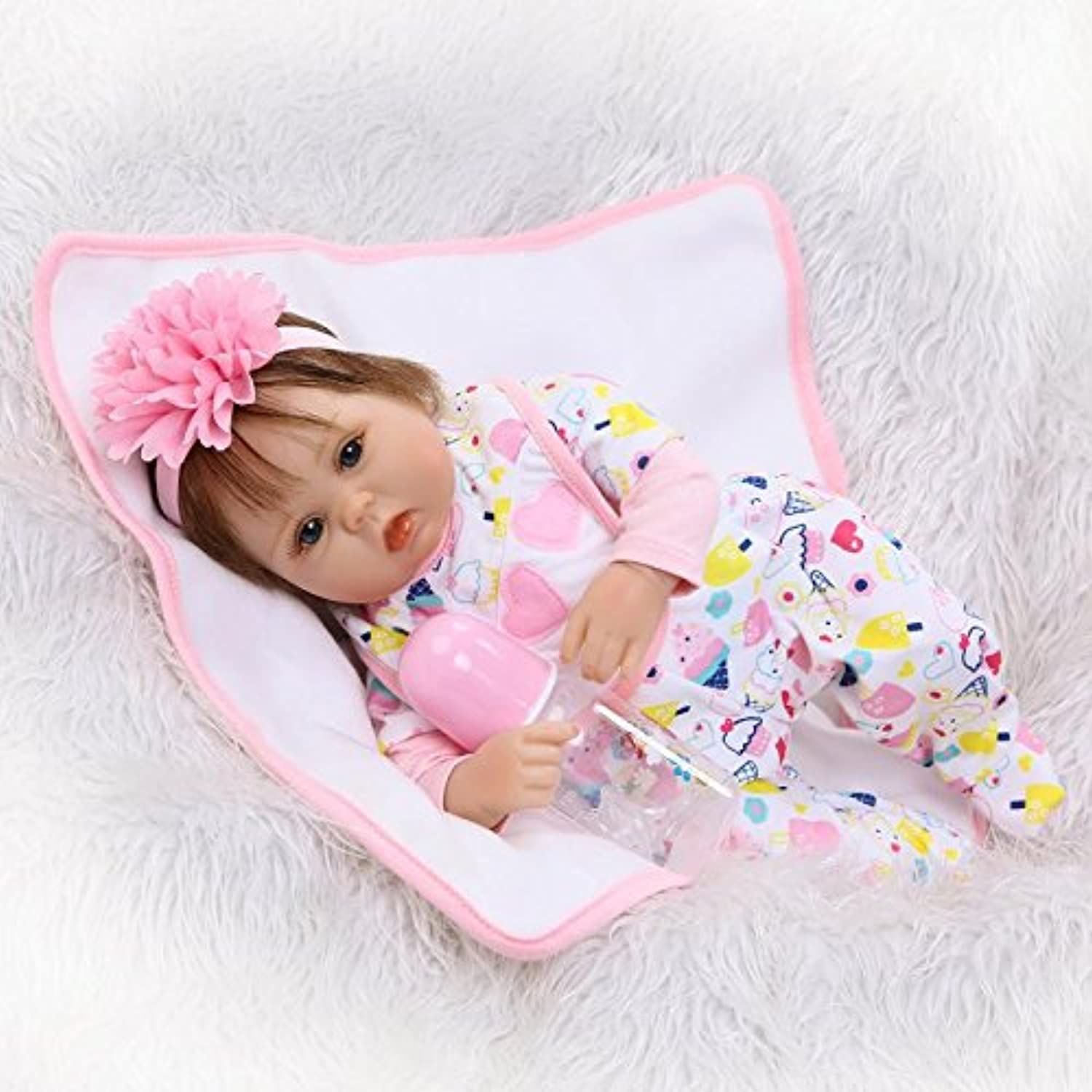 Lilith Realistic Lifelike 17インチ42 cm Lovely Cute Look本物Reborn人形ベビーソフトボディシリコンビニール人形新生児幼児用Toy for Kids Children Xmasクリスマス誕生日ギフトwith Magneticおしゃぶり