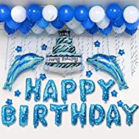 誕生日 飾り付け HAPPY BIRTHDAY バルーン イルカ バルーン パーティー 風船 アルミ風船 風船2色 ハンドポンプ 両面テープ付き (青のイルカセット)