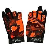 釣り用 手袋 迷彩 葉柄 フィッシンググローブ 指 3本 出し 釣道具 防寒 手袋 伸縮性・吸湿発散性 滑り止め 3カットフィンガー オレンジ
