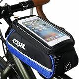 adelphos クロスバイク ロードバイク用 フレームバッグ トップチューブバッグ スマホ対応 iphone6s xperiaZ5 など対応 (ブルー)
